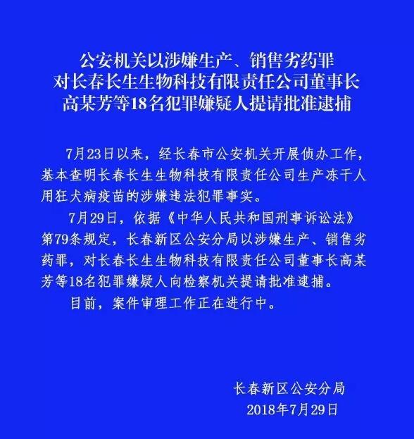 长春长生董事长高俊芳等18人被提请批